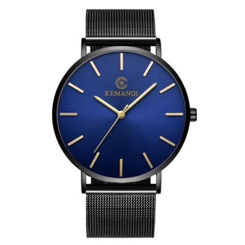 KEMANQI Simple Ultra-thin Waterproof Steel Mesh Belt Quartz Watch for Men(Ultra-thin Mesh belt blue dial) фото