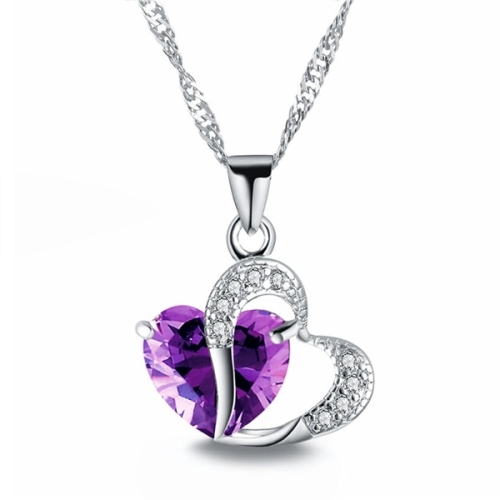 Heart Shaped Zircon Crystal Necklace Sweater Clavicle Chain(Purple)