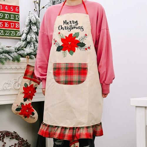 sunsky-online.com - 15% OFF by SUNSKY COUPON CODE: TBD05348384 for Christmas Decoration Supplies Red Flower Linen Apron Adult Apron Restaurant Atmosphere Dress Up