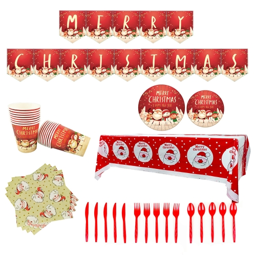 sunsky-online.com - 15% OFF by SUNSKY COUPON CODE: TBD05350121 for Christmas Theme Party Supplies Tableware Set Paper Cups And Paper Plates Table Bla Flag Decoration Set