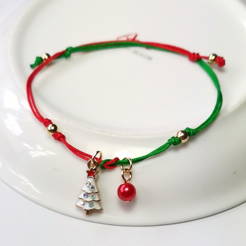 sunsky-online.com - 15% OFF by SUNSKY COUPON CODE: TBD0535015504 for 10 PCS Christmas Hand-Knitted Bracelet Christmas Gifts, Style:Christmas Tree