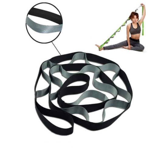 sunsky-online.com - 15% OFF by SUNSKY COUPON CODE: TBD0535749901 for 12 Lattice Yoga Belt Stretch Splits Resistance Band, Size: 250 x 3.8cm(Black & Gray)