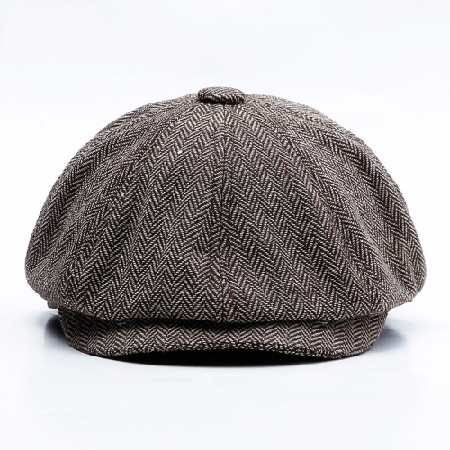 sunsky-online.com - 15% OFF by SUNSKY COUPON CODE: TBD0535891601 for 14128 Stripe Snap Design Beret Autumn And Winter Retro Wild Octagonal Hat, Size: 58CM(Coffee)