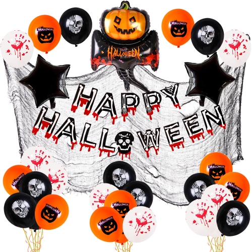 sunsky-online.com - 15% OFF by SUNSKY COUPON CODE: TBD0536084401 for Halloween Aluminum Film Latex Balloon Party Decoration Set(Pumpkin Ghost)