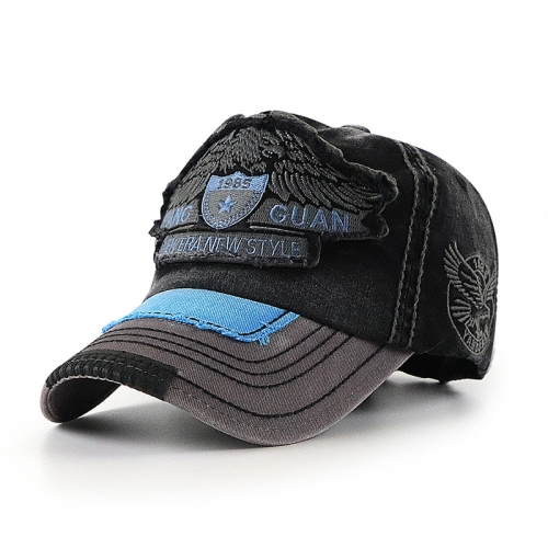 sunsky-online.com - 15% OFF by SUNSKY COUPON CODE: TBD0536084801 for YANG GUAN Eagle Pattern Embroidered Washed Baseball Cap Sun Protection Cap, Size: 54cm(Black)