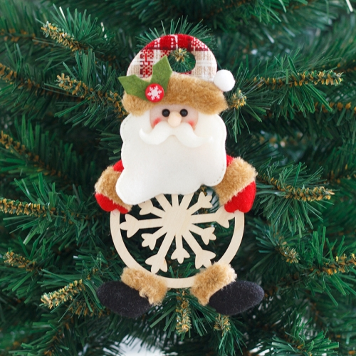 sunsky-online.com - 15% OFF by SUNSKY COUPON CODE: TBD0536373401 for 4 PCS Snowflake Wooden Board Cartoon Doll Christmas Small Pendant  Christmas Tree Decoration(Senior)
