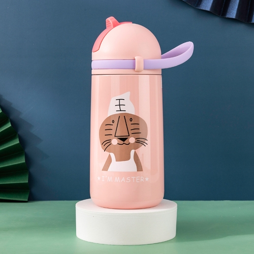 sunsky-online.com - 15% OFF by SUNSKY COUPON CODE: TBD0537383001 for Cartoon Animal Pattern Children Straw Stainless Steel Vacuum Flask Portable Cup With Rope(Pink)