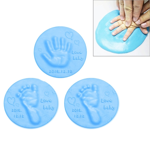3 PCS Baby Care Air Dry Soft Clay Baby Hand and Foot Inkpad(Blue)