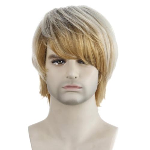 Sunsky Light Blond Short Hair Men Chemical Fiber Wig Light Gold