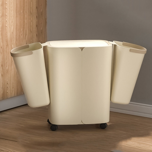 Sunsky Elljt0 Household Kitchen Garbage Trash Can With Lid Colour Light Coffee Light Coffee Size 32x27x18 5cm