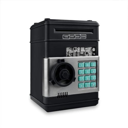 Electronic Piggy Bank ATM Password Money Coins Saving Box(Black)