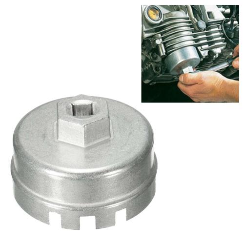 64.5mm Aluminum Oil Filter Wrench Cap Socket Remover Tool for Lexus Toyota Corolla Highlander RAV4 Camry Universal Housing(Silver)