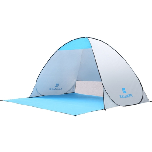 KEUMER Automatic Camping Tent Beach Two-Person Instant Pop Up Open Anti UV Awning Tents Outdoor Sunshelter(Silver)