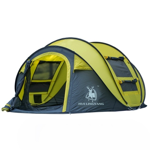 Outdoor Automatic Tents Throwing Pop Up Waterproof Camping Hiking Tent Waterproof Large Family Tents(Yellow)