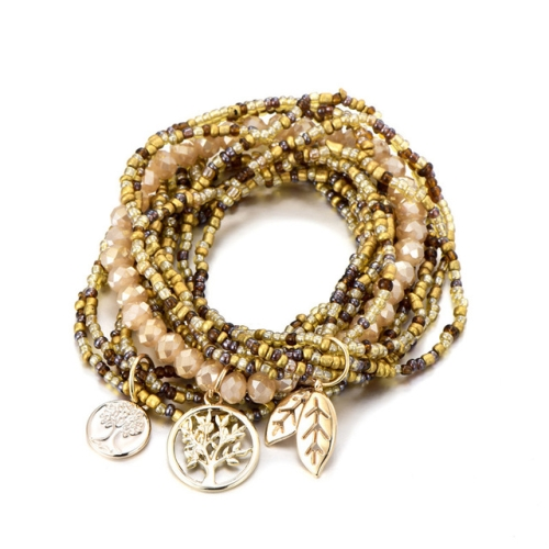 Bohemian Style Life of Tree Leaves Charm Beads Bracelets Women Multilayer Crystal Seed Bead Bracelet(Yellow)
