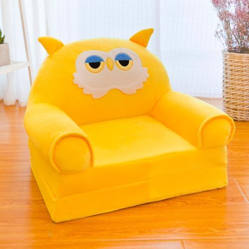 Cartoon Folding Children Kids Sofa Plush Toy Multi-function Baby Seat Kindergarten Stool(Yellow Crown)