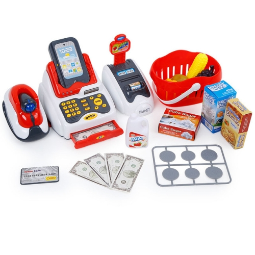 Simulation Supermarket with Shopping Basket Luxury Cash Register Set Children Play House Toys
