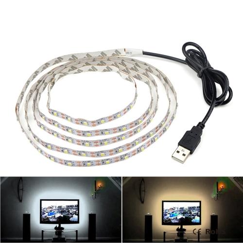 USB Power SMD 3528 Epoxy LED Strip Light Christmas Desk Decor Lamp for TV Background Lighting, Length:5m(White Light)
