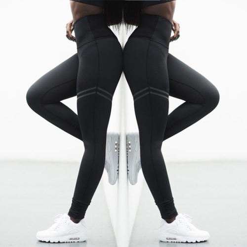 2 PCS High Elastic Fitness Sport Leggings Tights Slim Running Sportswear Sports Pants Women Yoga Pants Quick Drying Training Trousers, Size:XL(Black)