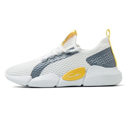 Spring Breathable Running Shoes Couple Models Student Casual Shoes Flying Woven Sports Shoes, Size: 40(White)  - buy with discount