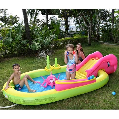 Home Large Cartoon Animal Drama Pool Water Spray Inflatable Swimming Pool Slide Pool(Seabed Animal )