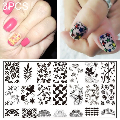 3 PCS Stainless Steel Nail Art Stamp Stamping Image Plate Nail Template Manicure Stencil Tools JQ-L04