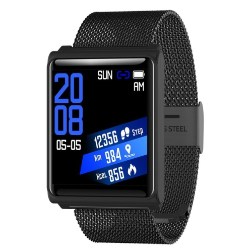 N98 Smart Watch IP67 Waterproof Support Blood Pressure Heart Rate Monitor Fitness Tracker Clock Smartwatch for IOS Android(Black metal)  - buy with discount