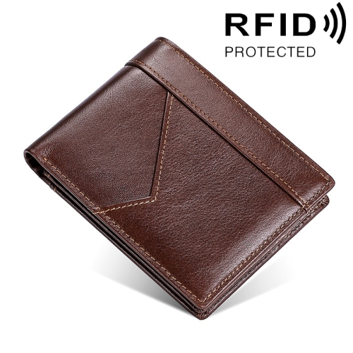 Stitching Leather Men Wallet RFID Anti-Theft Wallet(Coffee)