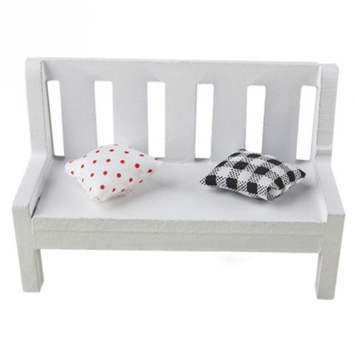 Mini Wooden Bench Dolls House Miniature Garden Dollhouse Furniture Accessory, Size:11*5*7 CM(White)