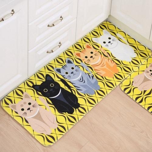 Kitchen Carpets Doormats CuteWelcome Floor Mats Hallway Cat Floor Mat Living Room Anti-Slip Tapete, Size:50x80cm(Yellow)
