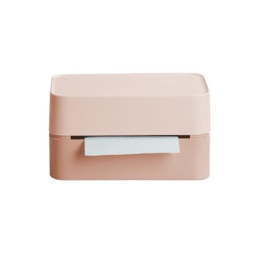 Simple Tissue Box Living Room Coffee Desk Tissue Storage Box(Pink)