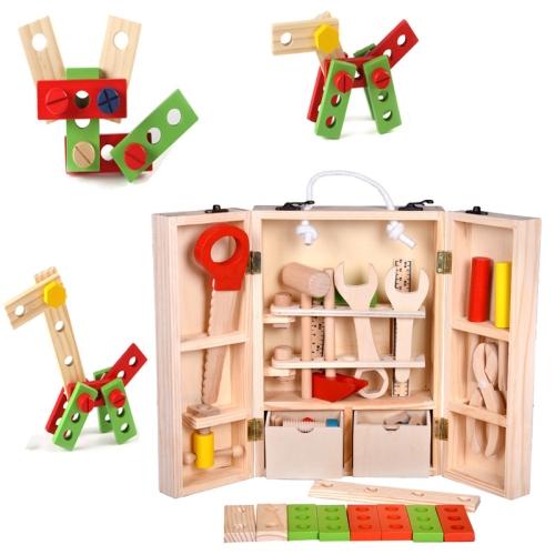 Wooden Carpenter Tool Set Maintenance Box Wooden Educational Toy for Children