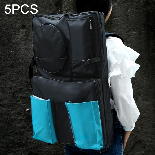 5 PCS 4K Black Waterproof Portable Sketch Painting Board Bag Double Pocket Large Capacity Travel Shoulder Sketchpad  Drawing Bag