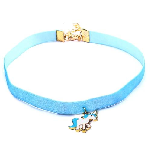 Women Animal Unicorn Lace Choker Necklace Pendant(Blue)
