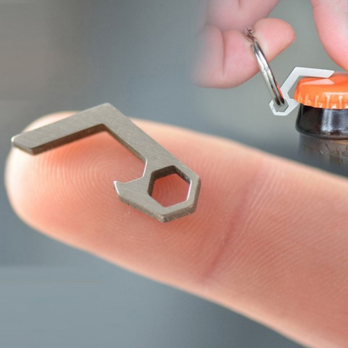 EDC Mini Lightweight Bottle Beer Opener Keyring Pocket Tool Outdoor Camp Hike Utility Gadget Stainless steel