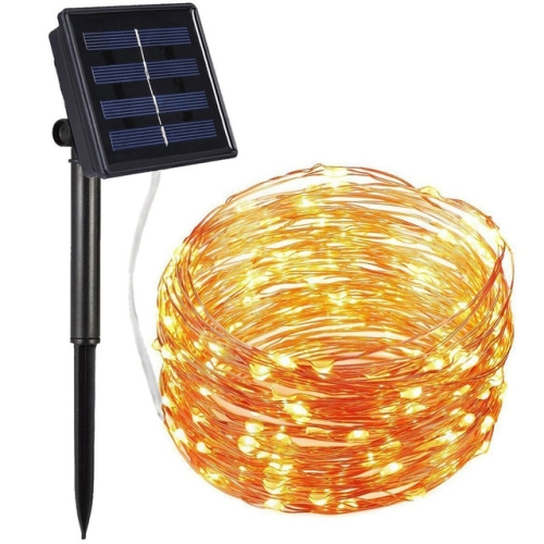 22m 200 LEDs Solar Powered Home Garden Copper Wire String Fairy Light Outdoor Christmas Party Decor Strip Lamp with 8 Modes(Warm White)