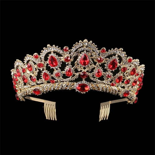 Crystal Tiaras Vintage Gold Rhinestone Pageant Crowns With Comb Baroque Wedding Hair Accessories