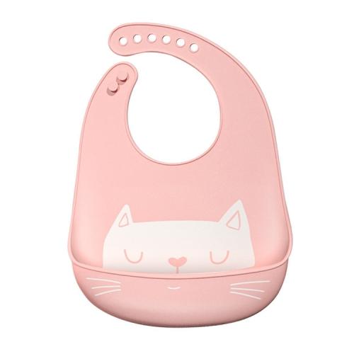Waterproof Baby Silicone Bibs Kids Feeding Bandana(Light Pink)