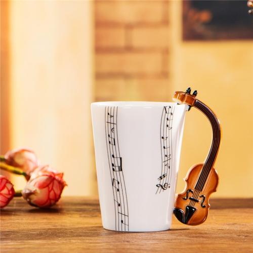 Guitar Ceramic Cup Personality Music Note Milk Juice Lemon Mug Coffee Tea Cup Home Office Drinkware Unique Gift(Violin Five Line)