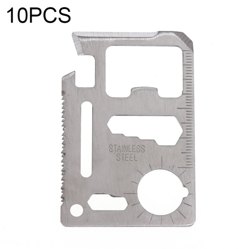 10 PCS 11 in 1 Outdoor Portable Multi-function Stainless Steel Hollow Tool Card Cutter with Leather Case, Size: 6.9 x 4.5cm(Silver)
