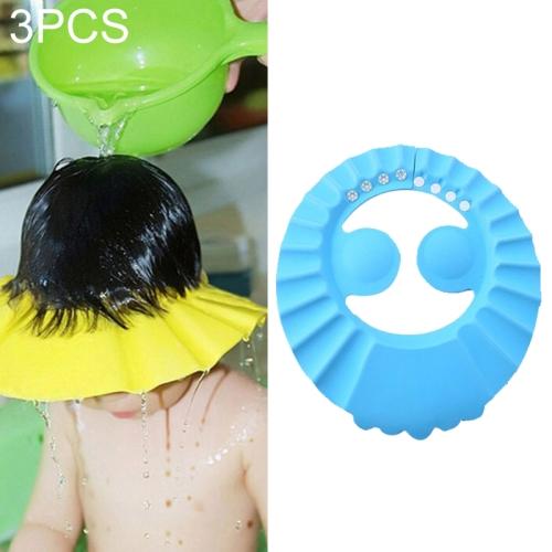 3 PCS Safe Baby Shower Cap Kids Bath Visor Hat Adjustable Baby Shower Cap Protect Eyes Hair Wash Shield for Children Waterproof Cap Blue+earflaps