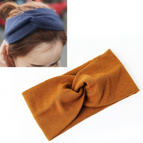 Women Widened Hair Bands Spiral Double Cloth Knit Solid Color Headwear Fashion Headbands Hair Accessories(Caramel)