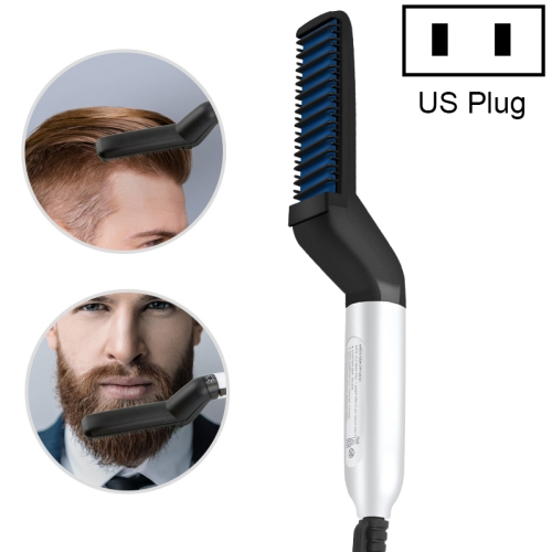 Men Multi-Function Hair Comb Personal Care Beard Style Comb, US Plug