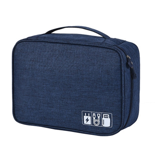 Digital Cable Bag Men Portable Travel Gadgets Pouch Power Cord Charger Headset Organizer(Navy)