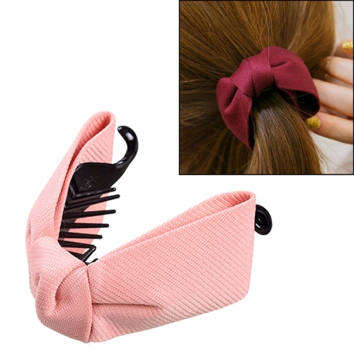 Sweet Fabric Bow Hair Claw Elegant Women Solid Cloth Ties Banana Hair Crab Clips Ponytail Hold Girl Hair Accessories(Pink)
