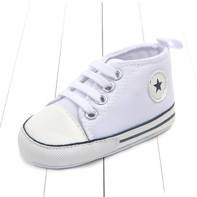 Polwer Baby Crib Shoes Toddler Boys Girls Soft Sole Canvas Anti-Slip Sneakers