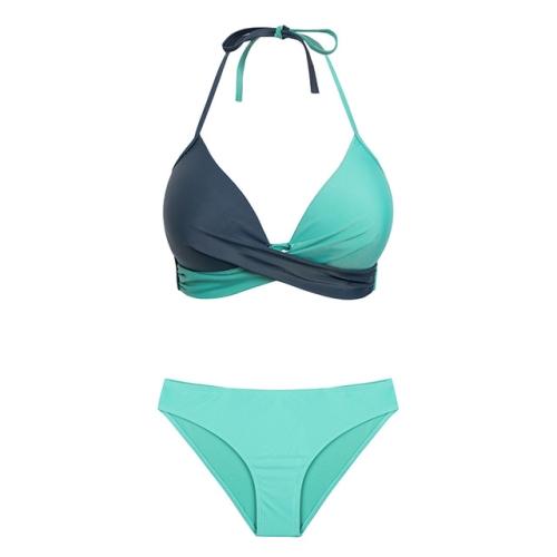 2 PCS Sexy Split Color Matching Bikini Swimsuit, Size:XXL(Dark Grey+Green)
