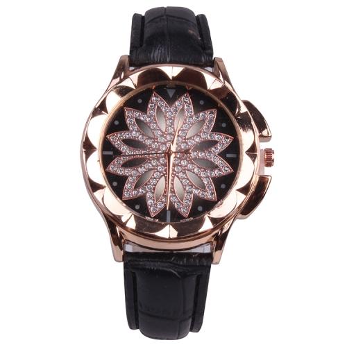 MOK Casual Lotus Pattern Dial Leather Strap Quartz Watch(Black)