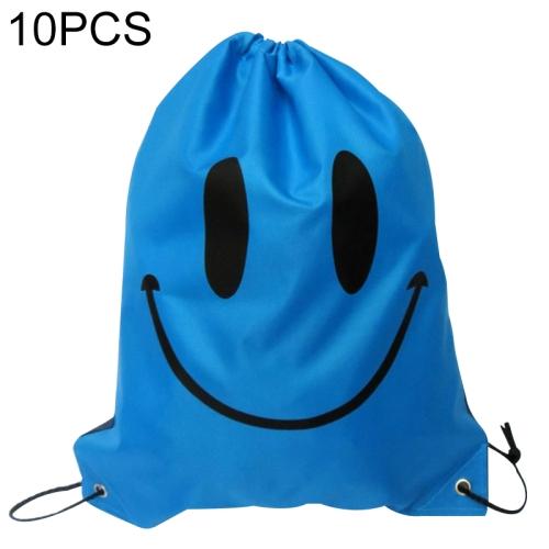 10 PCS Smile Backpack Drawstring Waterproof Bag(Blue)
