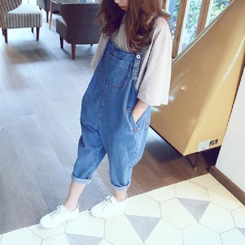 Sunsky Pantalones Con Pechera De Otono Casual Para Ninas Altura 9 Yardas 105 Cm Azul